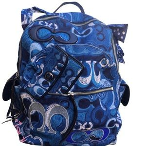 Coach Appliqué Blue Navy C Graffiti Backpack Bag